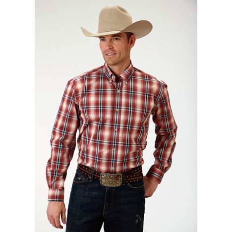 Roper Mens Amarillo Wine Plaid Open Pocket Long Sleeve Button Shirt - Red