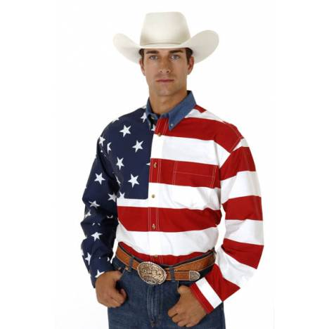Roper Mens Patriotic Stars & Stripes American Flag Long Sleeve Button Shirt