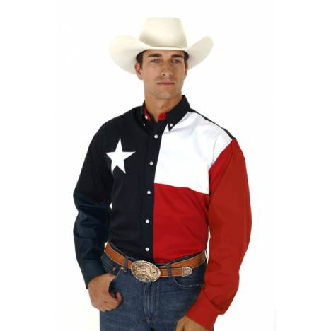Roper Mens Texas Collection Texas Pieced Flag Long Sleeve Button Shirt
