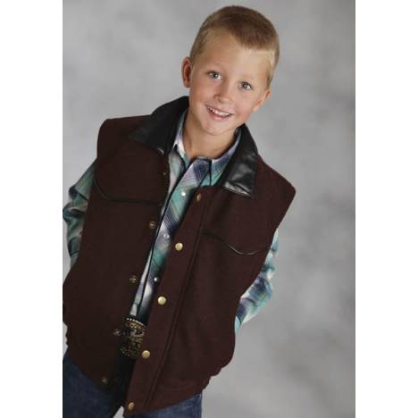 Roper Boys Faux Leather Accent Wool Vest - Brown