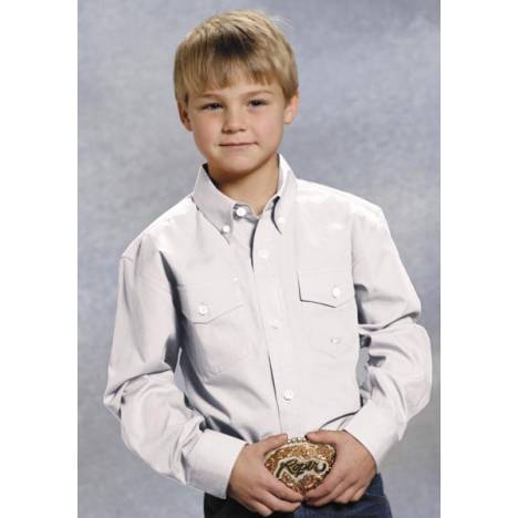 Roper Boys Solid Poplin Long Sleeve Variegated Button Shirt - White