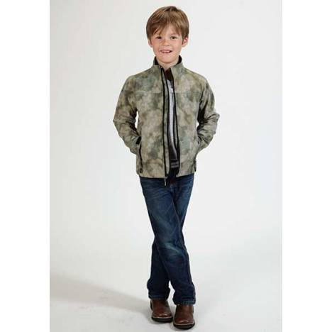 Roper Boys Technical Fleece Lined Blurry Print Softshell Jacket