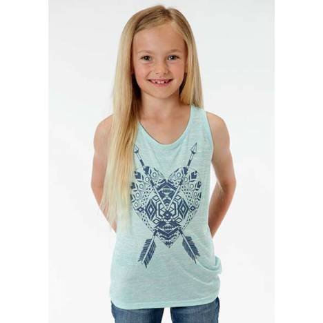 Roper Girls Aztec Heart And Feather Tank Top