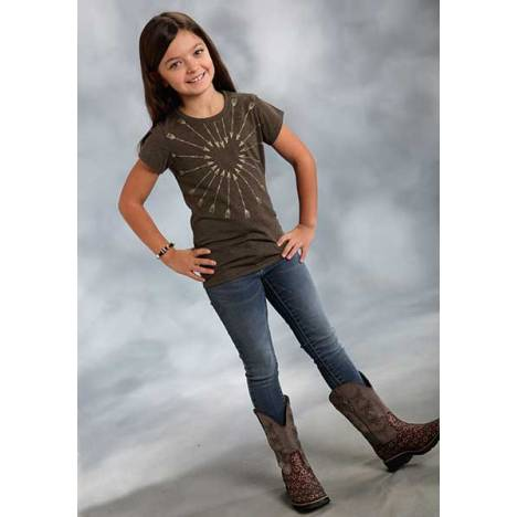 Roper Girls Novelty Print T-Shirt - Brown