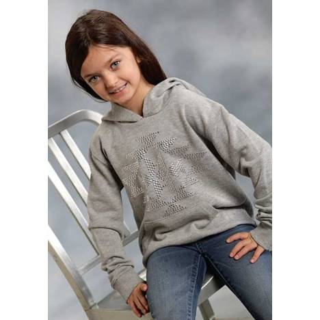 Roper Girls Sequined Aztec Terry Pullover Sweatshirt