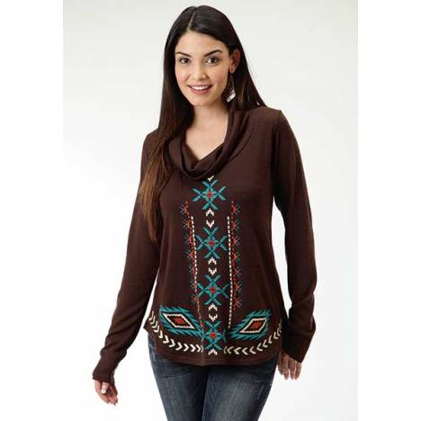Roper Ladies Aztec Embroidery Solid Sweater Jersey Tunic Top