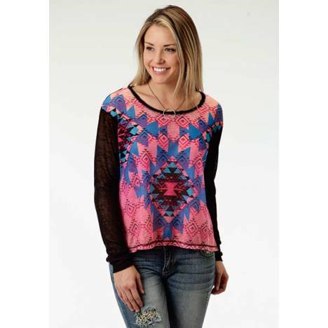 Roper Ladies Bright Side Colorful Jersey Crop Top