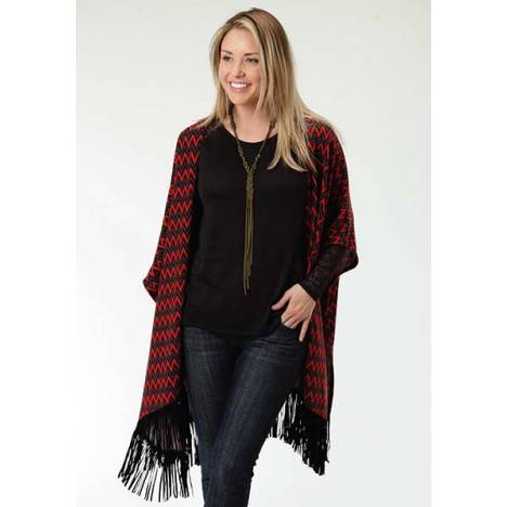 Roper Ladies Chevron Print Sweater Jersey Poncho