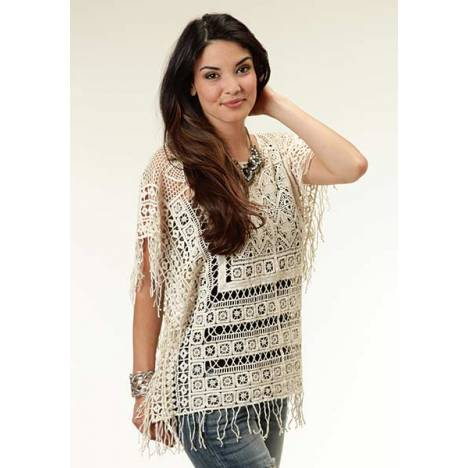 Roper Ladies Crochet Lace Poncho Shirt