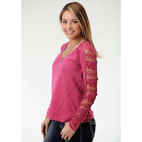 Roper Ladies Crochet Lace Yoke And Sleeve Insert Long Sleeve T-Shirt