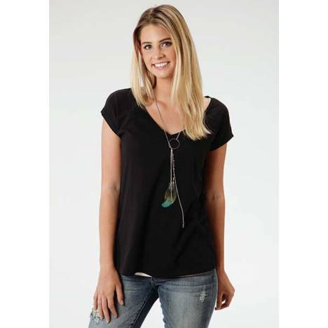Roper Ladies Cutout Crochet Skull Back Boyfriend T-Shirt