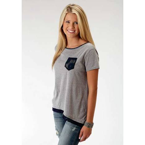 Roper Ladies Faux Leather Strap Slouchy T-Shirt