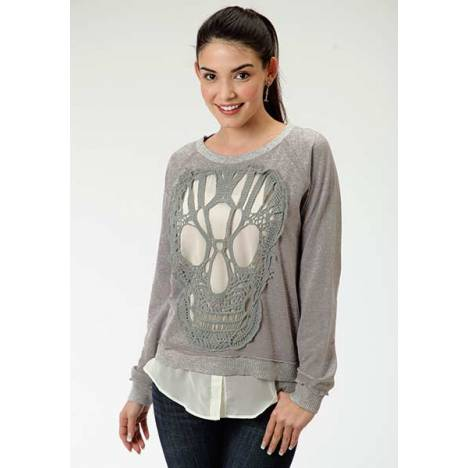 Roper Ladies French Terry Crochet Skull Sweatshirt