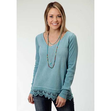 Roper Ladies Garment Dyed Wide Lace Hem Jersey Top