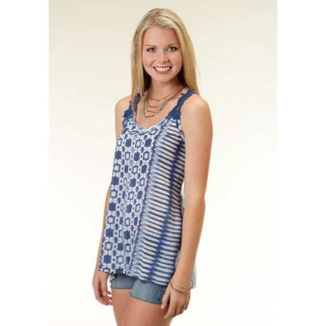 Roper Ladies Indigo Dreams Crochet Lace Racer Back Tank