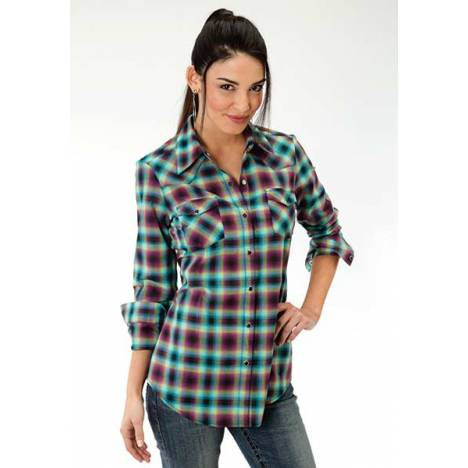 Roper Ladies Ombre Plaid Long Sleeve Snap Shirt