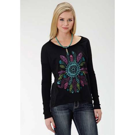 Roper Ladies Plus Size Colorfull Feather Print Slouchy T-Shirt