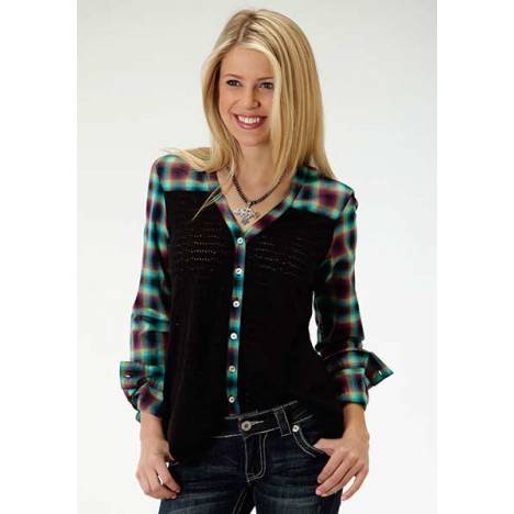 Roper Ladies Plus Size Treasure Hunt Long Sleeve Button Shirt