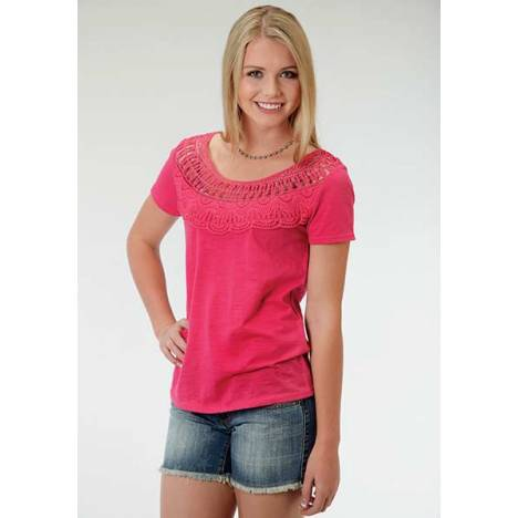 Roper Ladies Short Sleeve Crochet Lace Yoke T-Shirt