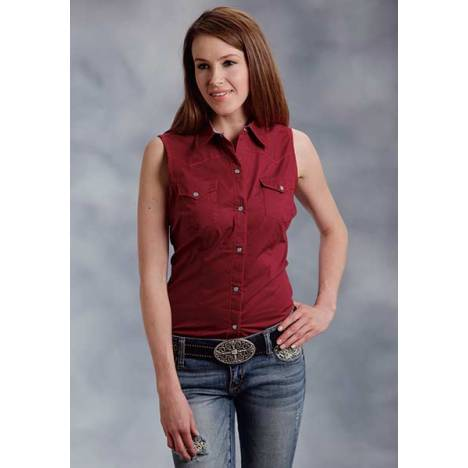 Roper Ladies Sleeveless Poplin Snap Shirt - Red