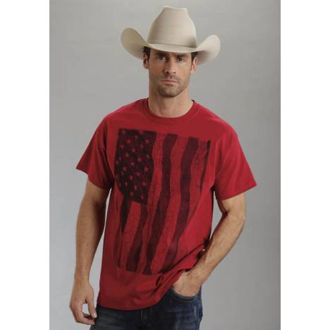 Roper Mens Americana Distressed Flag T-Shirt