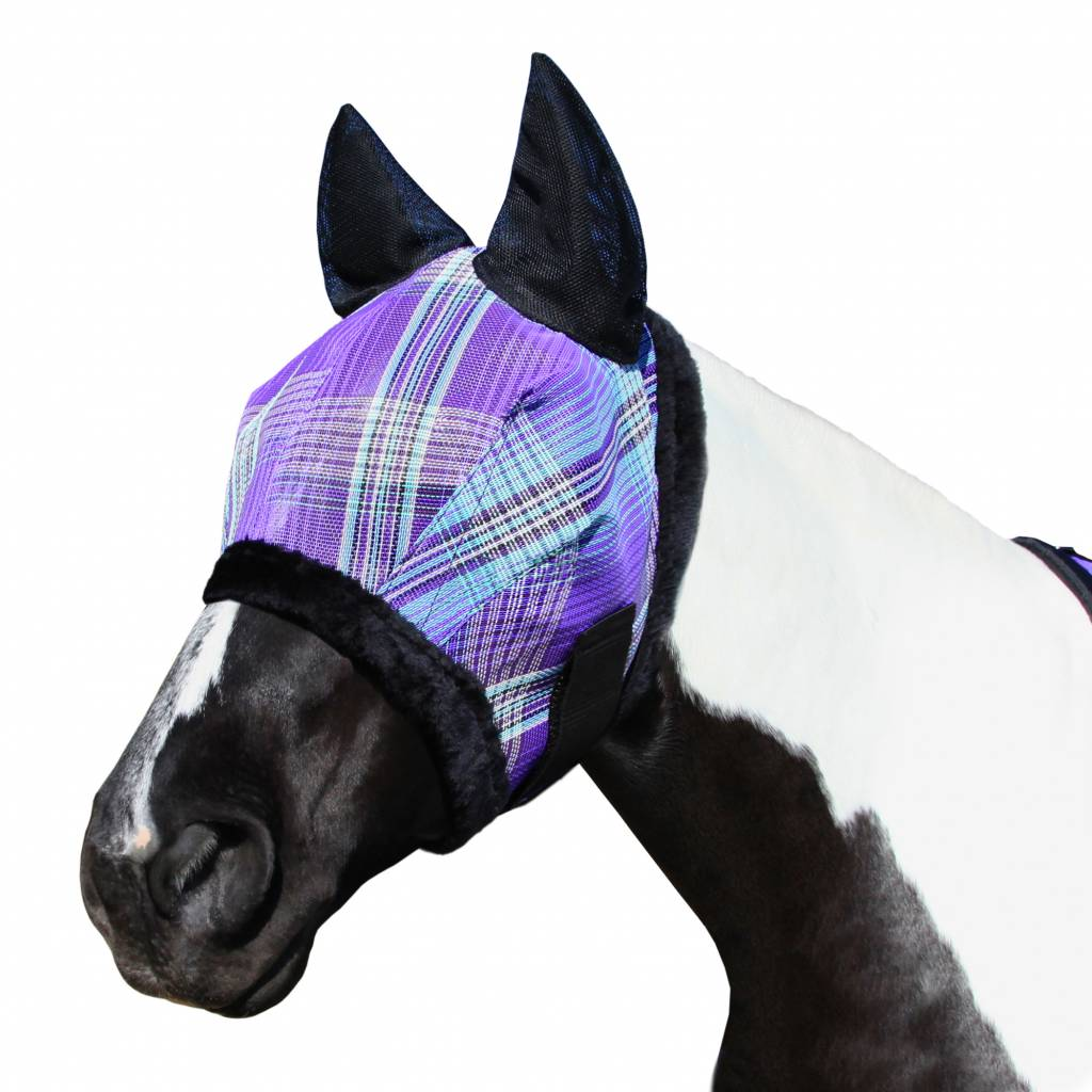 Kensington Fly Mask with Fleece Trim & Soft Mesh Ears - Lavender Mint