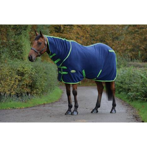 Weatherbeeta Combo Neck Fleece Cooler - Navy/Lime