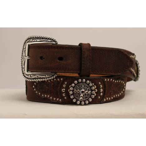 Ariat Mens 1 1/2 Crystal Scrolled Emboss Tabs Round Fancy Concho Belt