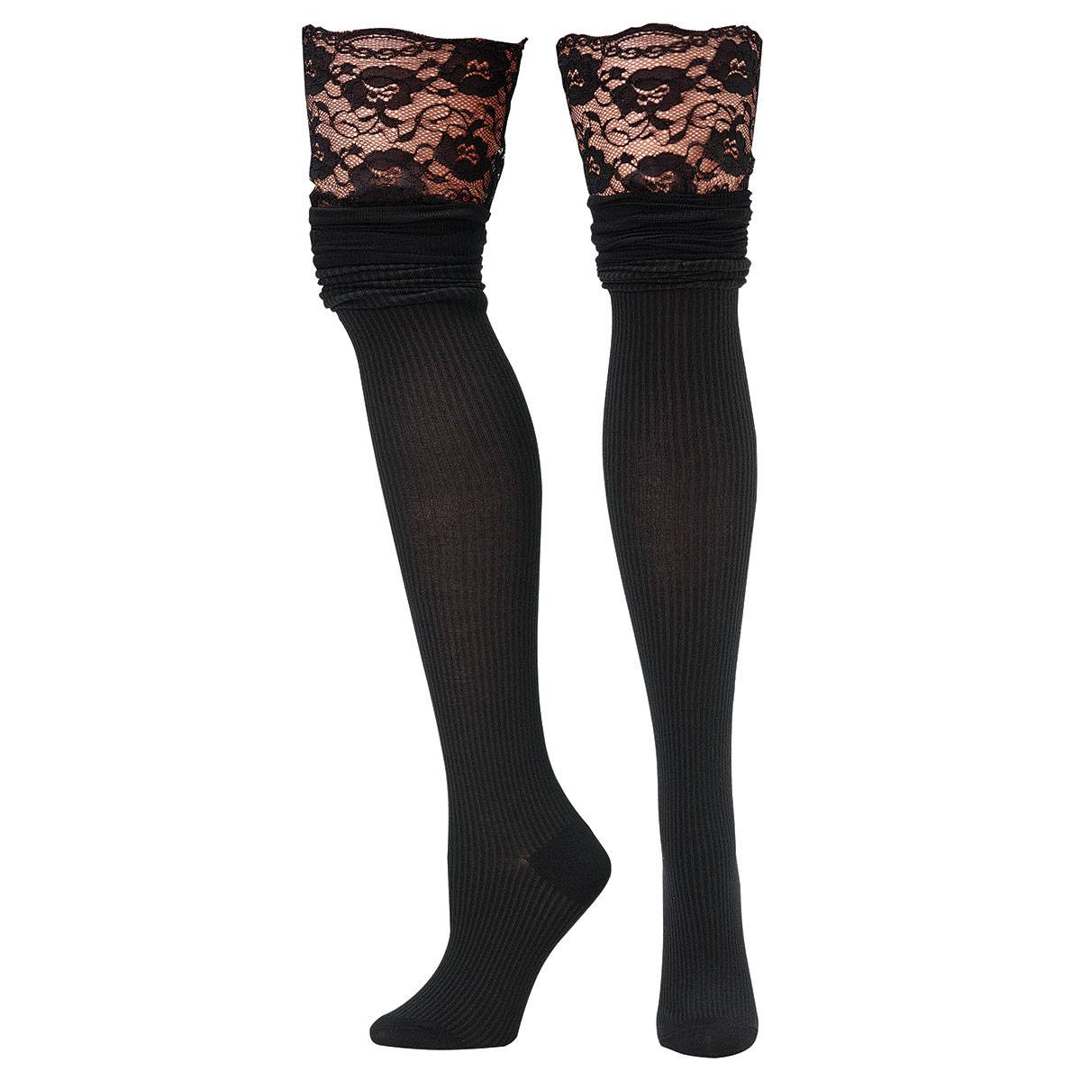 Blazin Roxx Ladies Scalloped Lace Over The Knee Socks