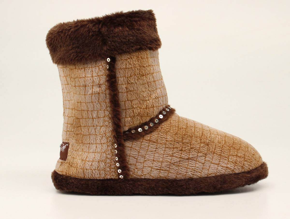 Blazin Roxx Ladies Plush Croco Boot Slippers