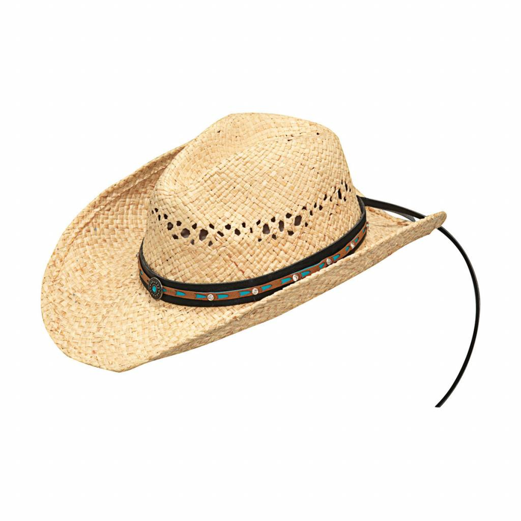 Blazin Roxx Ladies Raffia Pierced Concho Crystal Band Fashion Straw Hat