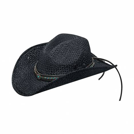 Blazin Roxx Ladies Raffia Pierced Concho Laced Band Fashion Straw Hat
