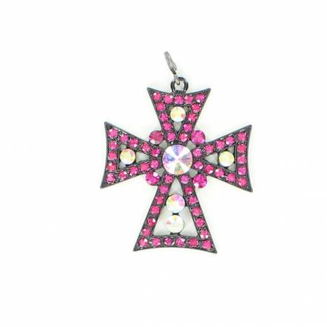 Blazin Roxx Multi Rhinestone Colored Cross Pendant
