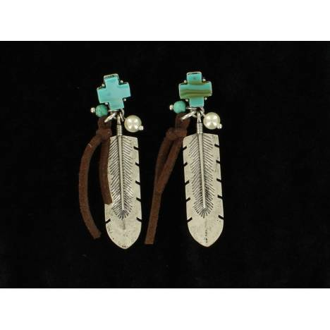 Blazin Roxx Post Cross Feather Dangle Earrings