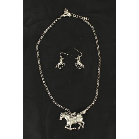 Blazin Roxx Running Horse Fishhook Earrings And Necklace Set