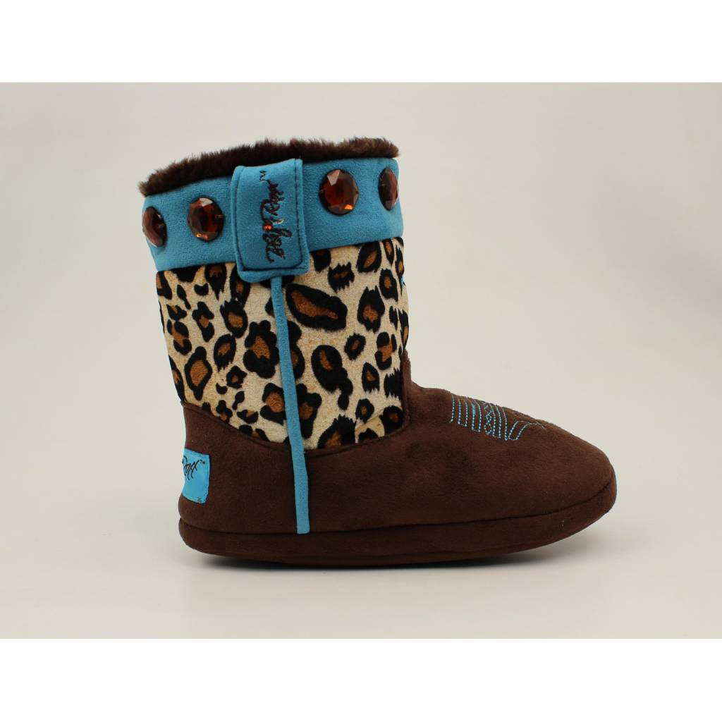 Blazin Roxx Youth Girls Leopard Cross Boot Slippers