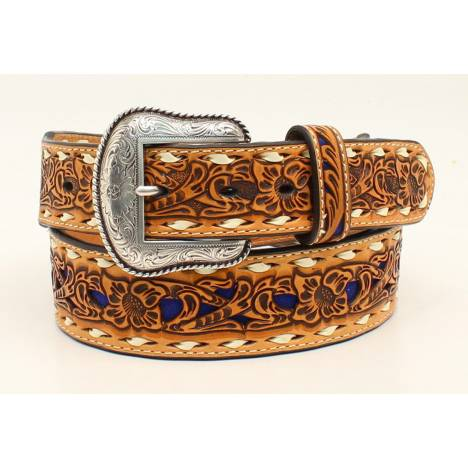 Nocona Mens 1 7/8 Tapered Floral Embossed Color Backed Western Belt