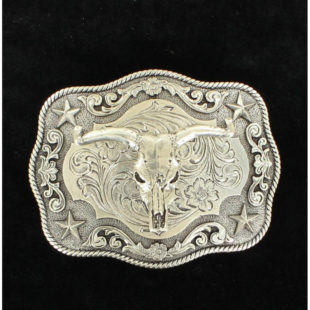 Nocona Mens Rectangle Rope Edge Steer Skull Boxed Buckle