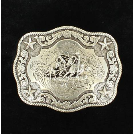 Nocona Mens Rectangle Rope Edge Team Roper Buckle