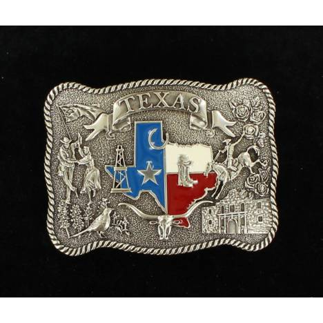 Nocona Mens Rectangle Rope Edge Texas State Buckle
