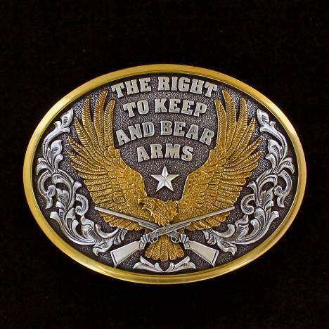 Nocona Oval Eagle Right To Bear Arms Buckle