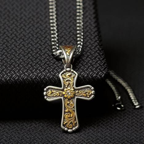 Twister Mens Floral Scrolled Cross Chain Necklace