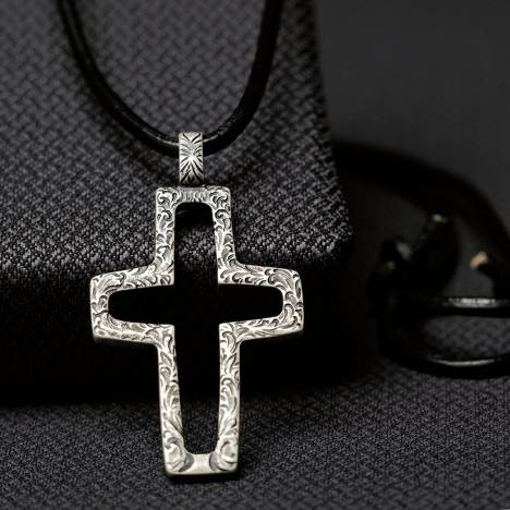 Twister Mens Hammered Cross Rope Necklace