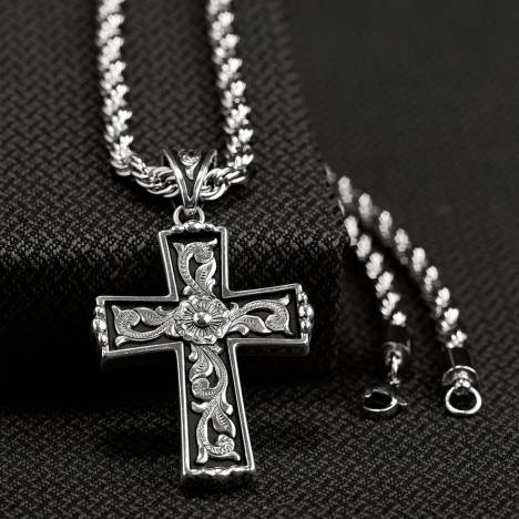 Twister Mens Scrolled Cross Necklace