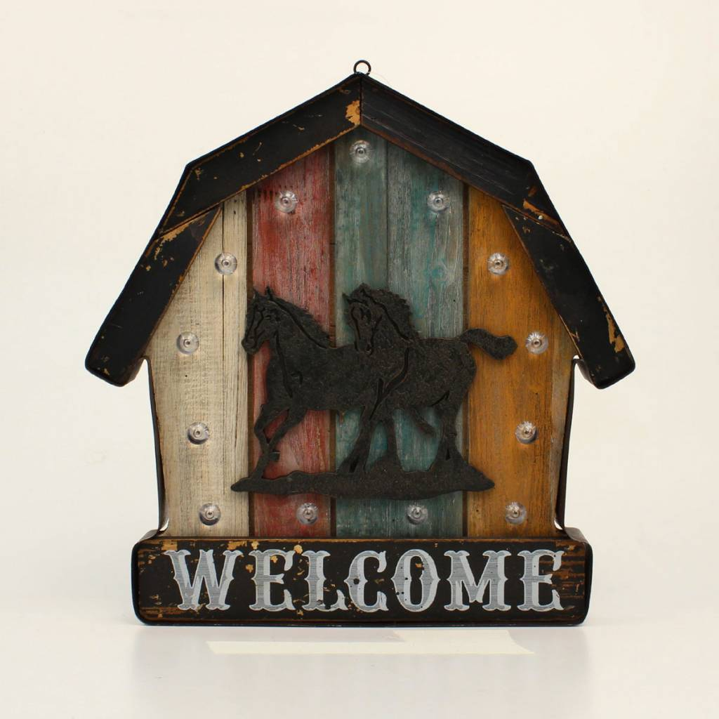 Western Moments Barn Horse Welcome Led Sign