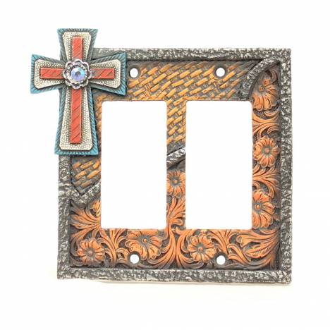 Western Moments Corner Cross Double Switch Plate