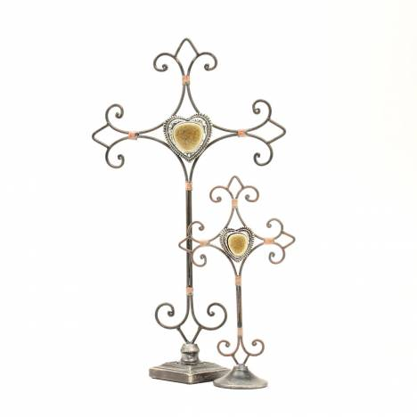 Western Moments Metal Heart/Cross Standing 2 Piece Set