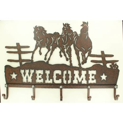 Western Moments Metal Running Horse Welcome Sign With Hooks
