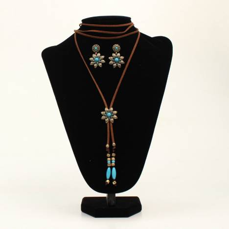 Blazin Roxx Ladies Bead Flower Wrap Choker And Earrings Set
