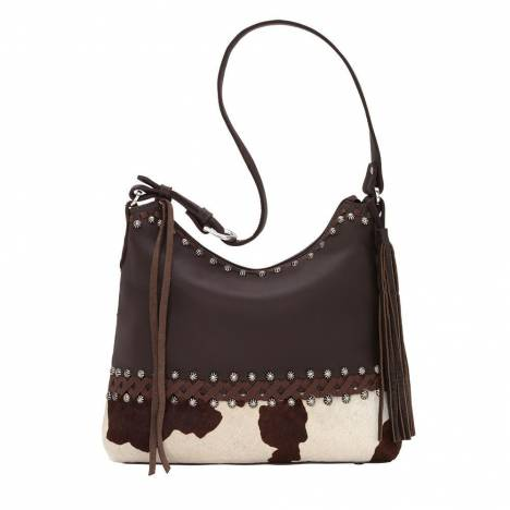 American West Wild Horses Zip Top Shoulder Bag - Cow Print